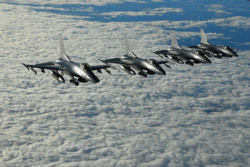 Fighting Falcons in Flight