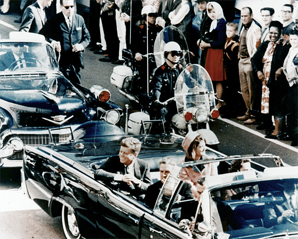 Picture of President Kennedy in the limousine in Dallas, Texas,