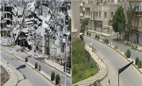 Syria devastation, before and after