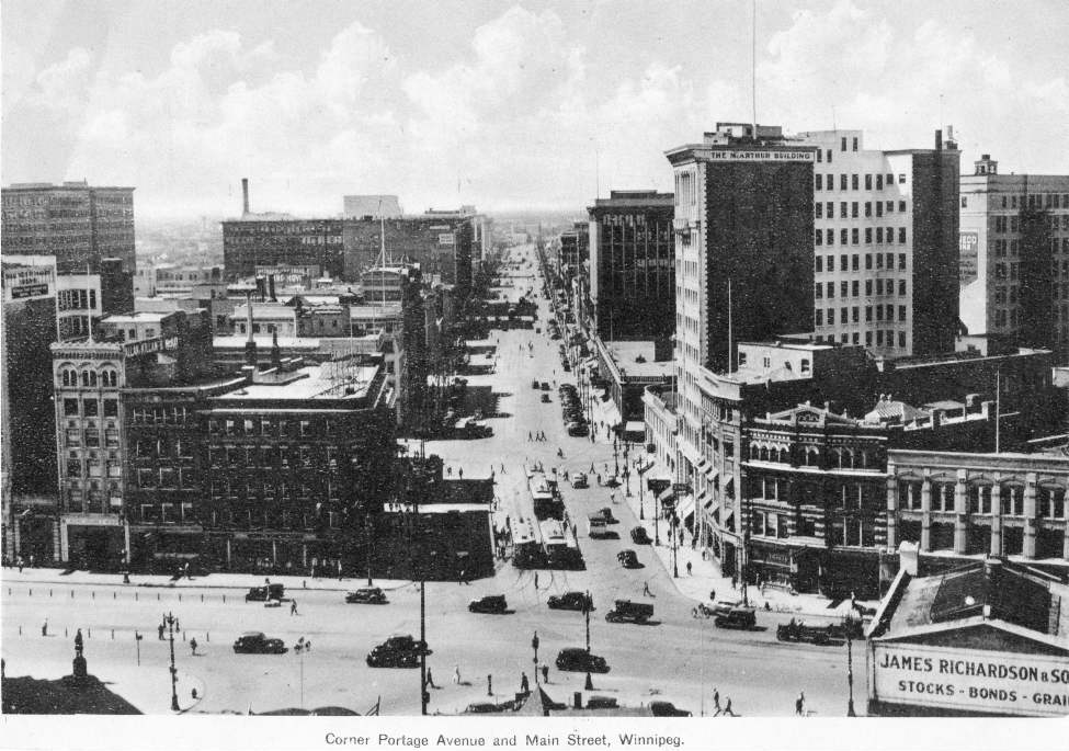 Winnipeg Free Press Archives Portage Avenue and Main Street PortageMain January 25, 1956 Corner of Portage Avenue and Main Street, looking west down Portage.