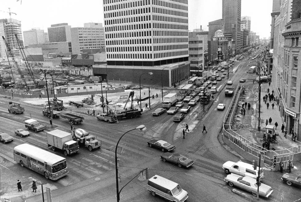 Winnipeg Free Press Archives Portage Avenue and Main Street PortageMain February 22, 1977 Construction starts on the Trizec Building (360 Main) and Winnipeg Square the underground mall at Portage and Main. The Trizec Building will open in early 1980 standing 117 m (384 ft) tall and have 31 floors.