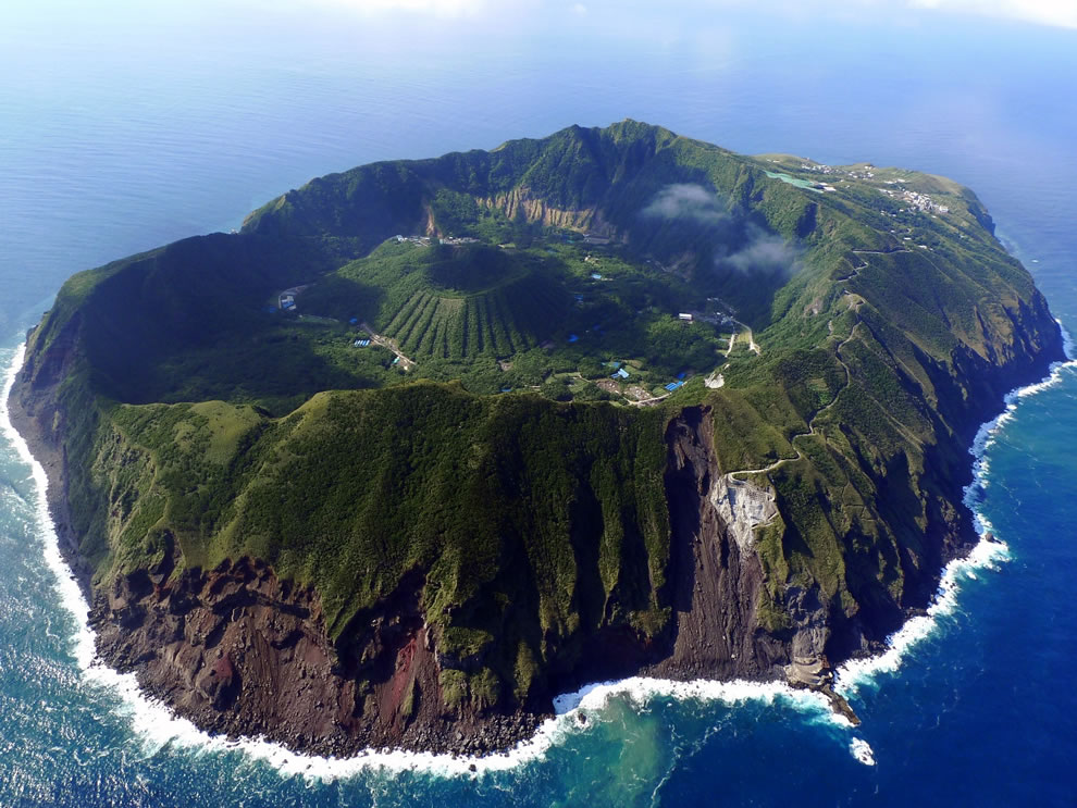 air Aerial-view-of-Aogashima-a-volcanic-Japanese-island