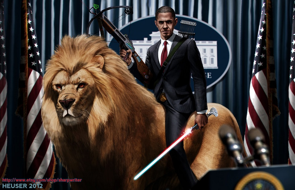 squatch obama on lion