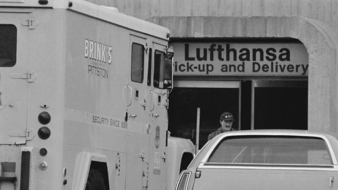 12 Dec 1978, Queens, New York City, New York State, USA --- Original caption: A Brink's truck is seen parked outside the Lufthansa cargo Terminal, near the pickup and delivery platform, at JFK Airport here, 12/12. On 12/8, a Brink's truck was to have picked up a large sum of cash at the building, but the driver left the money behind when he was informed that a Lufthansa foreman he was supposed to meet was busy, police said. On 12/11, a band of masked raiders stormed into the cargo terminal and bagged a reported $3.5 million. The U.S. currency, all used bills for which authorities have no serial numbers, was being shipped to the Chase Manhattan Bank in New York from Commerz Bank in Frankfurt, West Germany. --- Image by © Bettmann/CORBIS