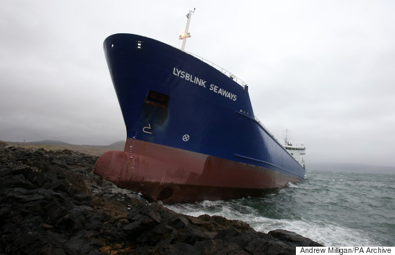 A general view of the container ship Lysblink Seaways grounded at Kilchoan, West Ardnamurchan in the West Highlands.