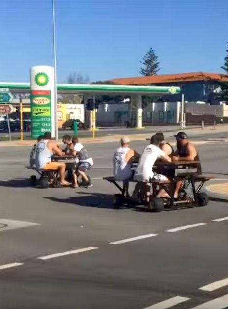 Australian Police On The Hunt For Men Drunk Driving On Motorized - Motorized picnic table