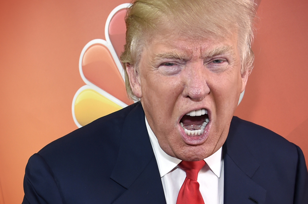 """Donald Trump, host of the television series """"The Celebrity Apprentice,"""" mugs for photographers at the NBC 2015 Winter TCA Press Tour at The Langham Huntington Hotel on Friday, Jan. 16, 2015, in Pasadena, Calif. (Photo by Chris Pizzello/Invision/AP)"""