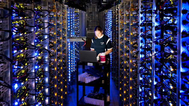 Denise Harwood diagnoses an overheated computer processor at Google's data center in The Dalles, Ore. Google uses these data centers to store email, photos, video, calendar entries and other information shared by its users.