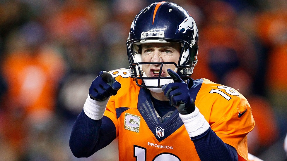 Nov 17, 2013; Denver, CO, USA; Denver Broncos quarterback Peyton Manning (18) in the first quarter against the Kansas City Chiefs at Sports Authority Field at Mile High. Mandatory Credit: Isaiah J. Downing-USA TODAY Sports
