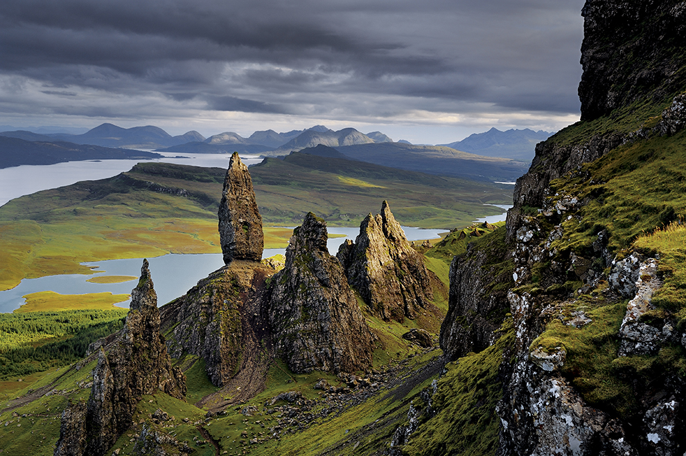 The Storr is part of the Trotternish geologic formation in the northeast corner of the Isle of Skye, Scotland. The largest of the monoliths is called The Old Man of Storr. To the south are the Cuillins of southern Skye.