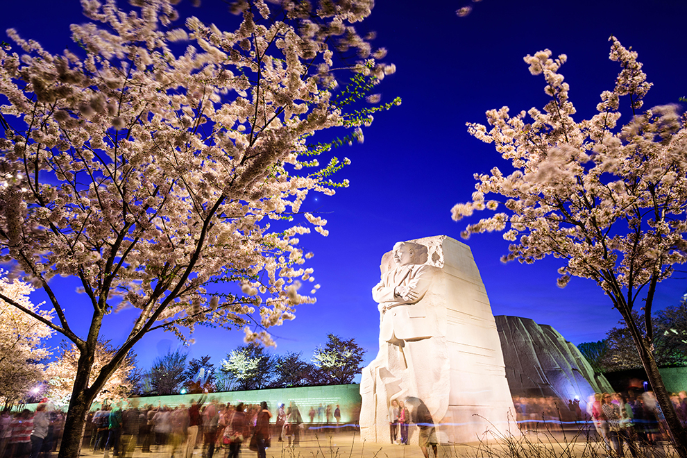 EMERPC Crowds gather under the Martin Luther King, Jr. Memorial in West Potomac Park in Washington DC.
