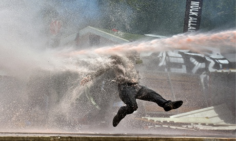 Water cannon on use on a demonstrator