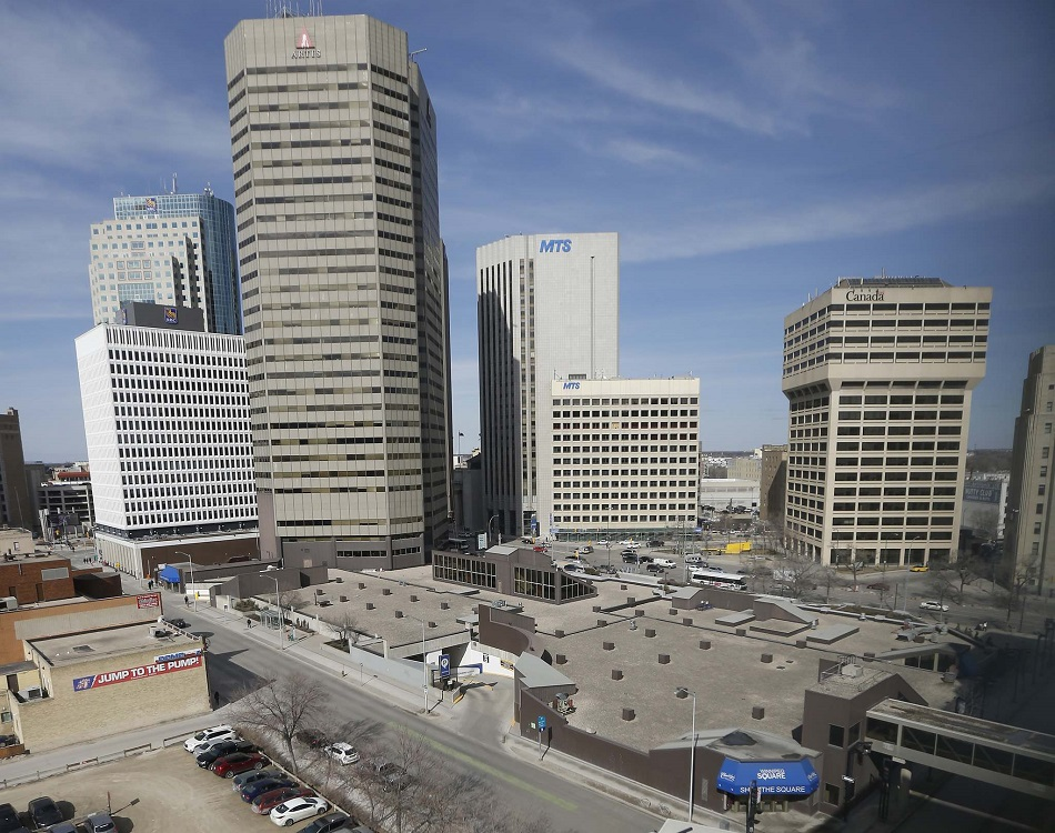 JOHN WOODS / WINNIPEG FREE PRESS Winnipeg Portage and Main including Winnipeg Square photographed Monday, March 28, 2016. Artis is planning to convert the Winnipeg Square property into a high rise commercial building.