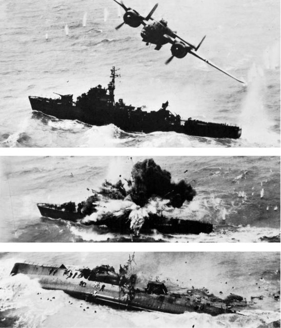 rare b-25 sinks jap destroyer