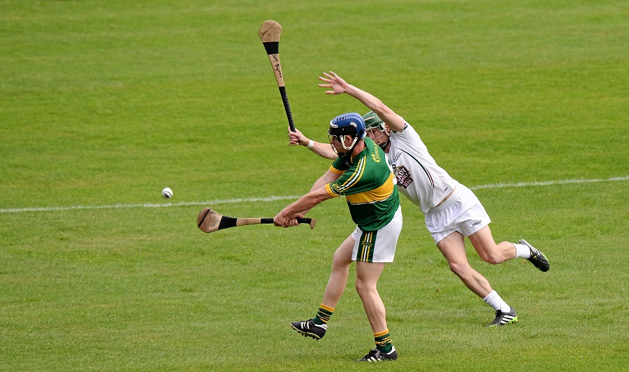 14 September 2013; Brendan Brosnan, Kerry, in action against Jonathon Byrne, Kildare. Bord Gáis Energy GAA Hurling Under 21 All-Ireland 'B' Championship Final, Kerry v Kildare, Semple Stadium, Thurles, Co. Tipperary. Picture credit: Ray McManus / SPORTSFILE *** NO REPRODUCTION FEE ***