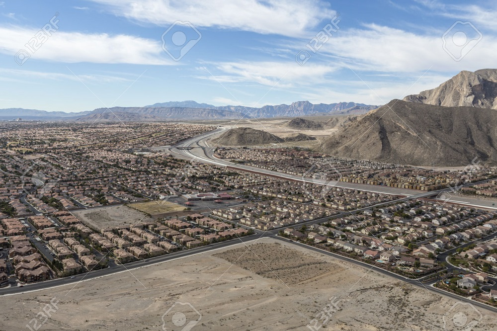 Suburban desert sprawl in the Las Vegas suburb of Summerlin.