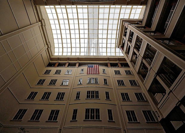 The Longaberger headquarters building in Newark has a seven-story atrium inside. Jonathan Quilter/Dispatch The 7-story atrium inside the Longaberger Headquarters (The Big Basket) in Newark on Tuesday, May 10, 2016.(Columbus Dispatch photo by Jonathan Quilter)