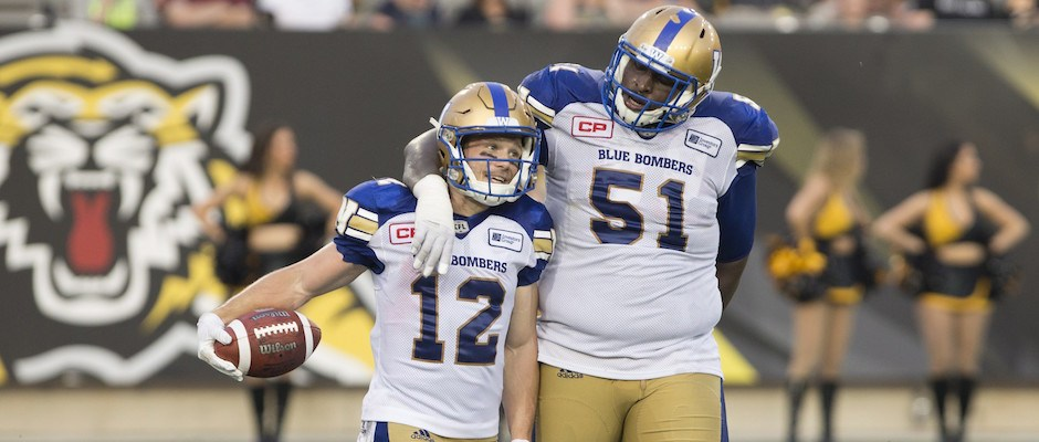 Winnipeg Blue Bombers wide receiver Ryan Smith (12) is congratulated by teammate Jermarcus Hardrick (51) after his touchdown during first half CFL football action against the Hamilton Tiger Cats, in Hamilton, Ont., on Thursday, July 7, 2016. THE CANADIAN PRESS/Peter Power
