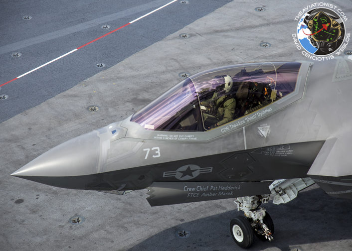 "F-35C from VX-23 ""Salty Dogs"" waits to cross the deck for fueling. During DT-III on the USS George Washington (CVN-73) Monday, August 15."