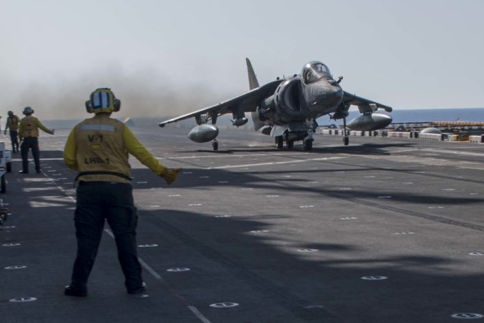 An AV-8B Harrier II from the 22nd Marine Expeditionary Unit (MEU) takes off from the flight deck of the amphibious assault ship USS Wasp (LHD 1) Aug. 18, 2016. The 22nd MEU, embarked on Wasp, is conducting precision air strikes in support of the Libyan Government of National Accord-aligned forces against Daesh targets in Sirte, Libya, in support of Operation Odyssey Lightning. (U.S. Navy photo by Mass Communication Specialist 3rd Class Zhiwei Tan)