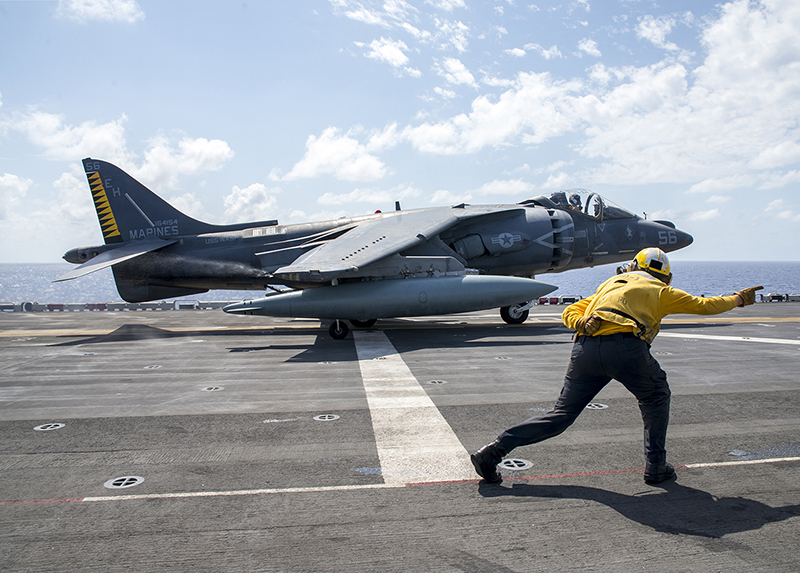 160824-N-VK310-041 MEDITERRANEAN SEA (Aug. 24, 2016) An AV-8B Harrier, from the 22nd Marine Expeditionary Unit (MEU), takes off from the flight deck of the amphibious assault ship USS Wasp (LHD 1) Aug. 24, 2016. The 22nd MEU, embarked on Wasp, is conducting precision air strikes in support of the Libyan Government of National Accord-aligned forces against Daesh targets in Sirte, Libya, as part of Operation Odyssey Lightning. (U.S. Navy photo by Mass Communication Specialist 3rd Class Michael Molina/Released)