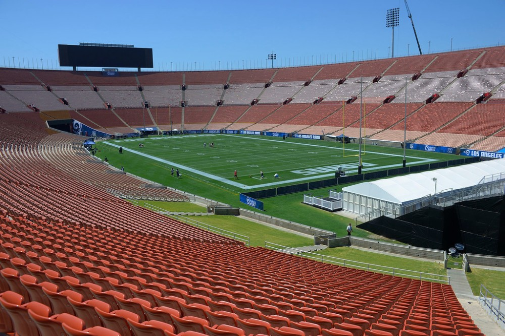 Grounds crews paint and prep the field at the Los Angeles Memorial Coliseum for the Los Angeles Rams first pre-season home game. Los Angeles, CA. August 12, 2016. (Photo by John McCoy/So Cal News Group)