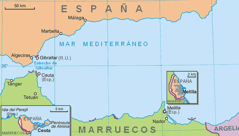 Map Of Spain And North Africa.The Spanish Cities Of North Africa Markosun S Blog