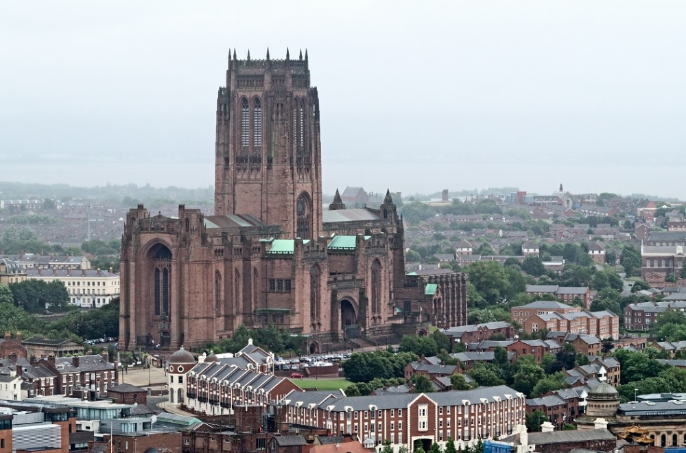 Birdseye view of the Liverpool Cathedral in Liverpool, UK